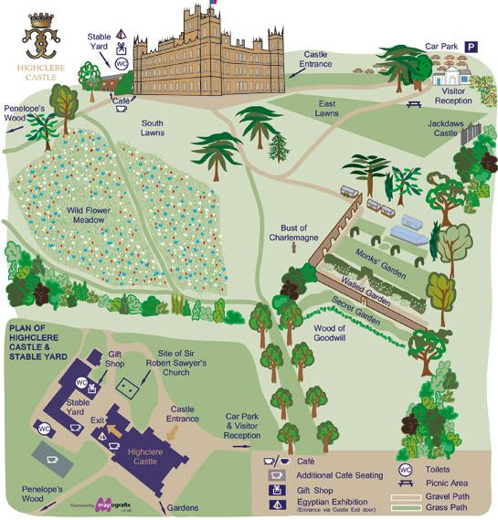Highclere Castle Map Site Plan Highclere Castle Map