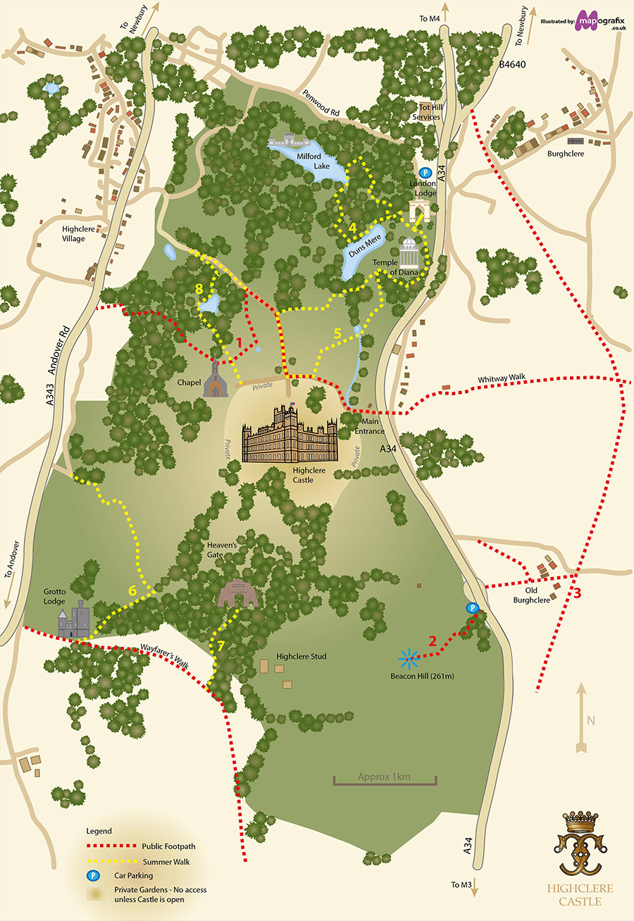 Map Of England Castles.Highclere Castle Walks Within Near The Estate